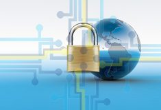 a padlock with a background of the world and a circuit board depicting an https secure website