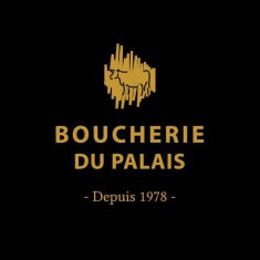 Gold Bourcherie du Palais logo on black background with link to website.