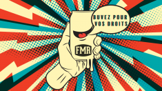 FMR Beer can: buvez pour vos droits, red, white and blue radio lightning background.
