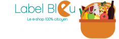 "Label Bleu logo and link to website. Basket of fresh fruits, vegetable, milk and wine. ""E"" in ""Bleu"" is ""eating"" the ""u"". Home delivery services"