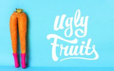 Ugly Fruits logo and link to page. Carrot legs with crown and pink boots. Home delivery services