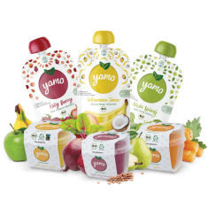 Yamo full line of products, drinks and solid foods.
