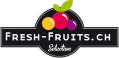 Fresh Fruits logo, black and white with yellow, pink and purple fruits. Home delivery services