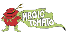 Monsieur Tomato wearing hat with matching green boots and cape, Magic Tomato logo. Home delivery services
