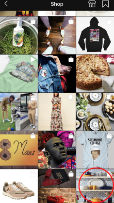 Instagram explore shop page content search