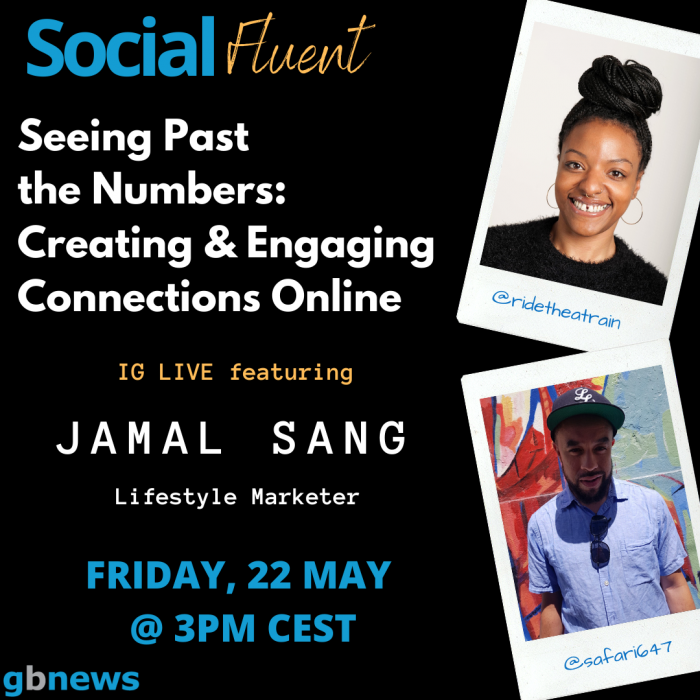 SocialFluent IG Live Interview creating and engaging connections online with Ashleigh Armstrong and Jahmal Sang