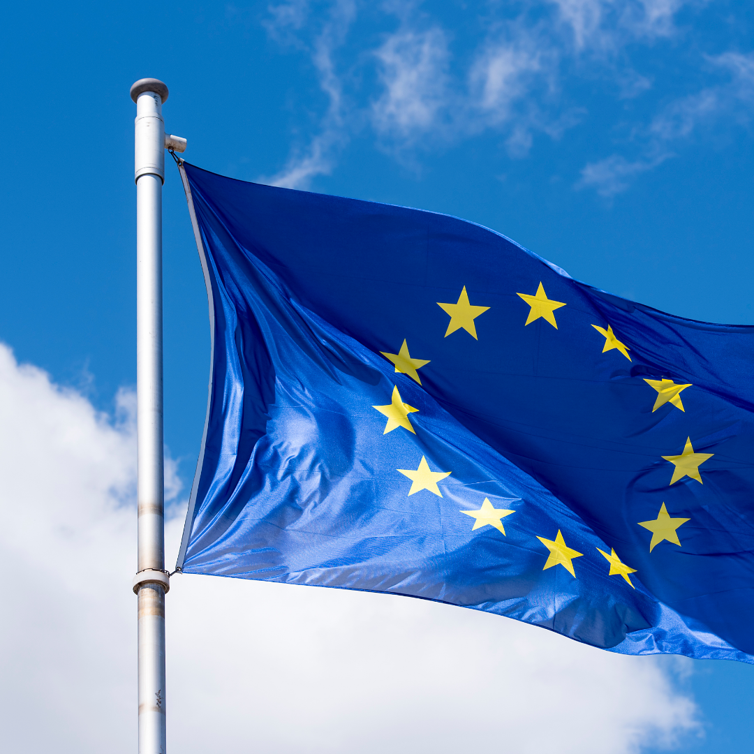 flag of Europe and Big Tech