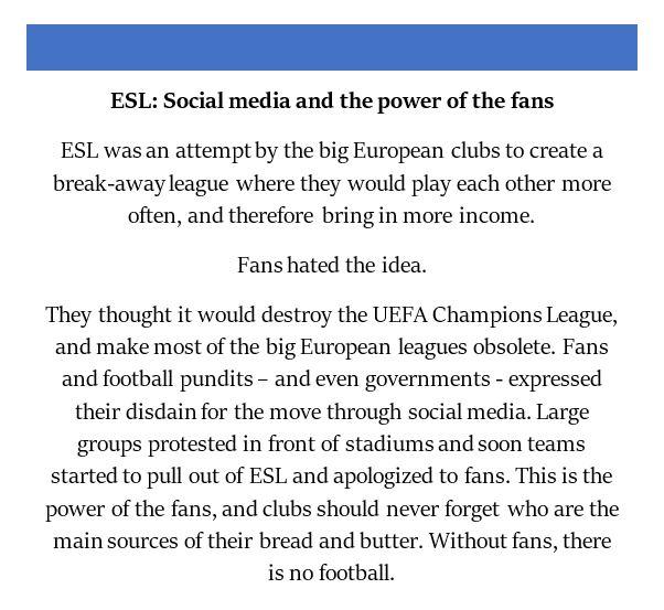 football social media ESL
