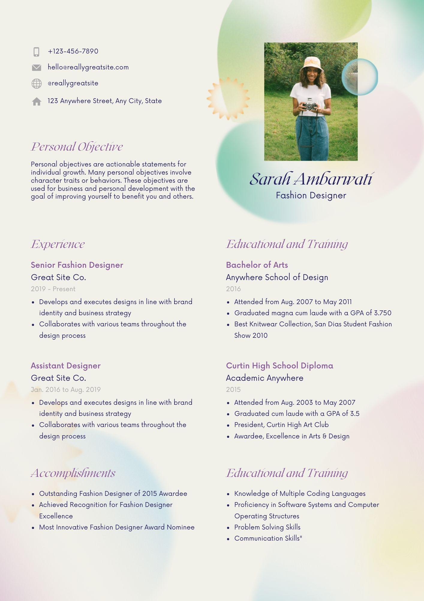 fourth example of a cv